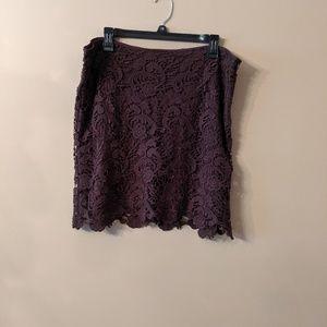 Dark Brown Lace Overlay Mini Skirt